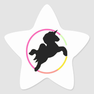 Neon unicorn! star sticker