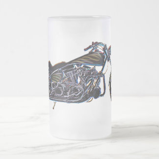 Neon V-twin Motorcycle Beer Mug