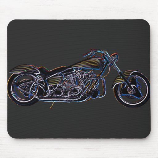 Neon V-twin Motorcycle Mousepad