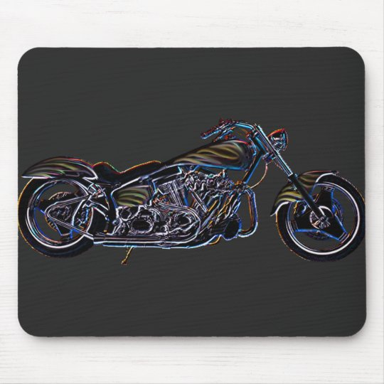 Neon V-twin Motorcycle Mousepad