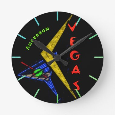 Neon Vegas Nevada Cocktail Personalized Wall Round Clock