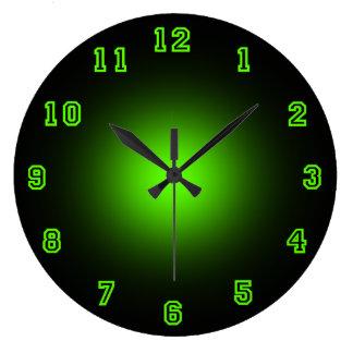 "Neón verde 10,75"" reloj redondo grande"