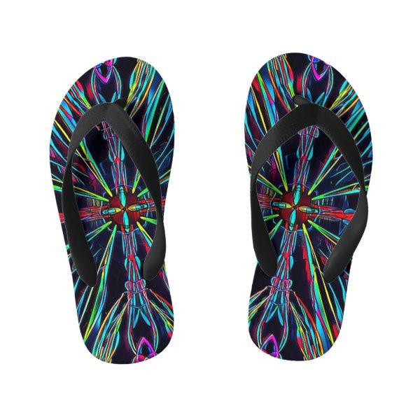 Neon Vibrant Coloful Burst Flip Flop Sandals
