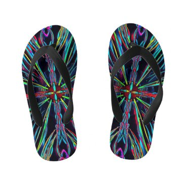 Beach Themed Neon Vibrant Coloful Burst Flip Flop Sandals Kid's Flip Flops
