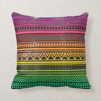 Neon Vintage Aztec Tribal Andes Pattern Throw Pillow