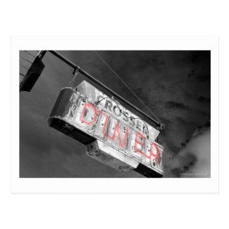 Neon Vintage Diner Sign Postcard
