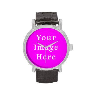Neon Violet Purple Color Trend Blank Template Wristwatches