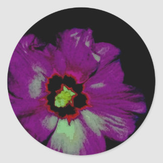 Neon Violet the Hibiscus Classic Round Sticker