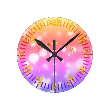 NEON Wall Clock PINK PURPLE Personalized