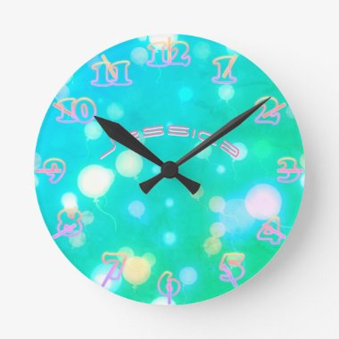NEON Wall Clock Turquoise PINK SKY Personalized