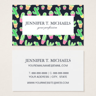 Neon Watercolor Cacti in Pots Pattern Business Card