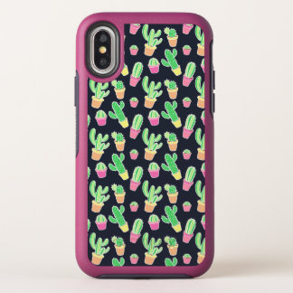 Neon Watercolor Cacti in Pots Pattern OtterBox Symmetry iPhone X Case