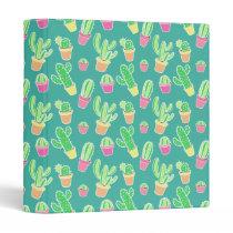 Neon Watercolor Cactus In Pots Pattern 3 Ring Binder