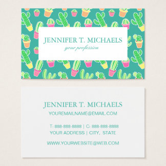 Neon Watercolor Cactus In Pots Pattern Business Card