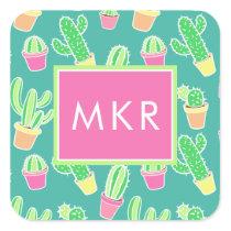 Neon Watercolor Cactus In Pots Pattern Square Sticker