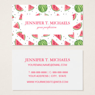 Neon Watercolor Watermelons Pattern Business Card
