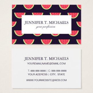Neon Watermelon on Purple Pattern Business Card