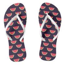 Neon Watermelon on Purple Pattern Flip Flops