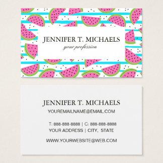 Neon Watermelon on Stripes Pattern Business Card