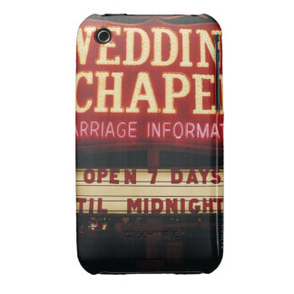 Neon Wedding Chapel Sign in Las Vegas, USA iPhone 3 Cover