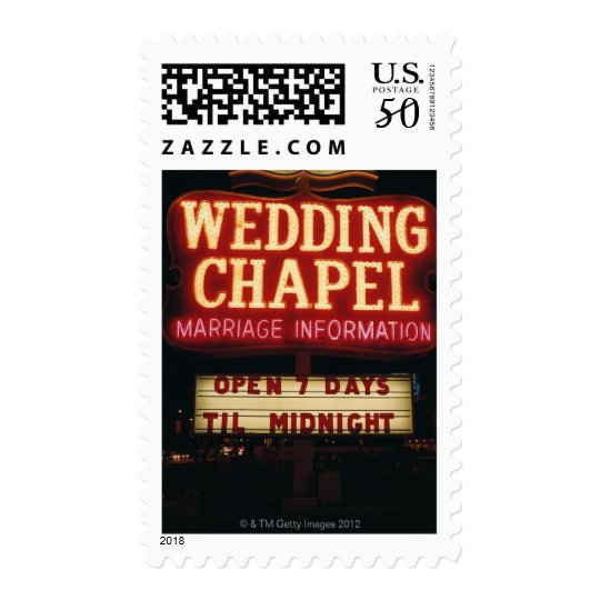 Neon Wedding Chapel Sign in Las Vegas, USA Postage