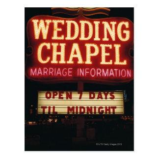 Neon Wedding Chapel Sign in Las Vegas, USA Postcard