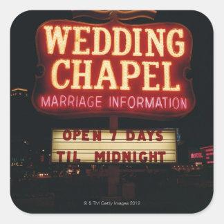 Neon Wedding Chapel Sign in Las Vegas, USA Square Sticker