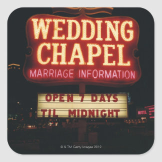 Neon Wedding Chapel Sign in Las Vegas, USA Square Stickers