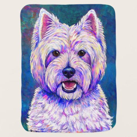 Neon West Highland White Terrier Dog Baby Blanket