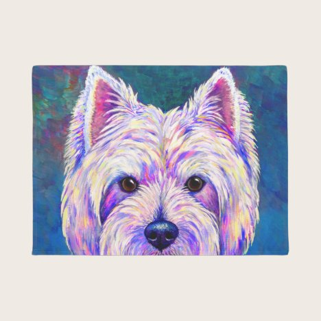 Neon West Highland White Terrier Dog Door Mat
