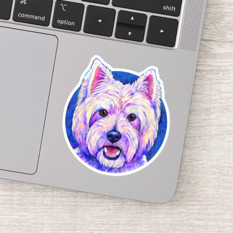 Neon West Highland White Terrier Vinyl Sticker