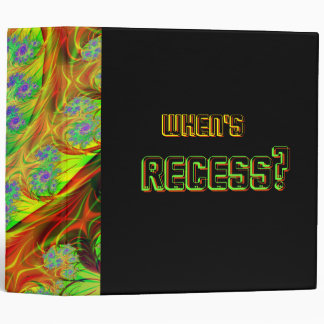 "Neon ""When's Recess?"" 3-Ring Binder"