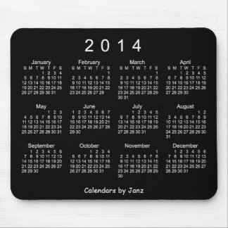 Neon White 2014 Calendar Mouse Pad