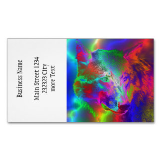NEON wolf Business Card Magnet