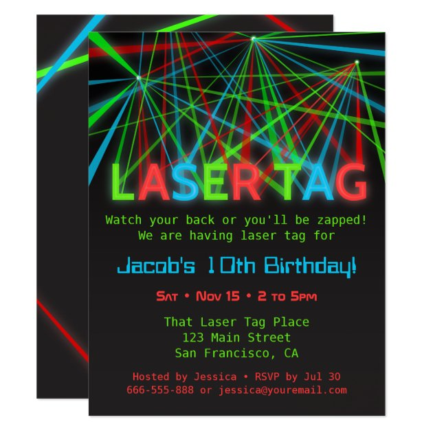 Neon Words Laser Tag Birthday Party Invitations | Zazzle.com