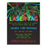 Neon Words Laser Tag Birthday Party Invitations at Zazzle