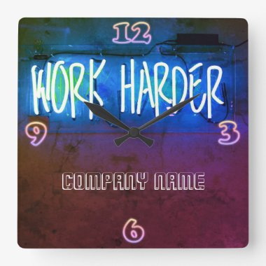 Neon Work Harder Office Staff Room Personalized Square Wall Clock