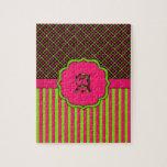 Neón y rosa del tartán del monograma rompecabezas con fotos