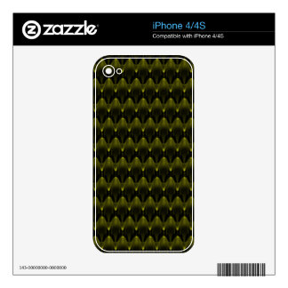 Neon Yellow Alien Head Pattern Decal For iPhone 4