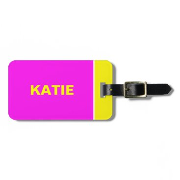 takeme4aride Neon Yellow an Pink travel luggage tag
