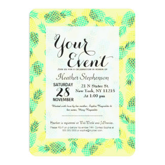 Neon Yellow and Green Tropical Hawaiian Pineapples Card