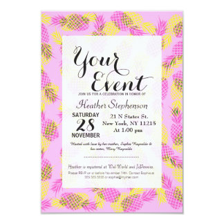Neon Yellow and Pink Tropical Hawaiian Pineapples 3.5x5 Paper Invitation Card