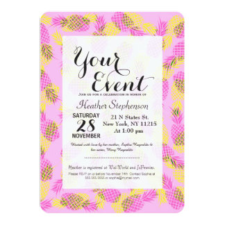Neon Yellow and Pink Tropical Hawaiian Pineapples 5x7 Paper Invitation Card