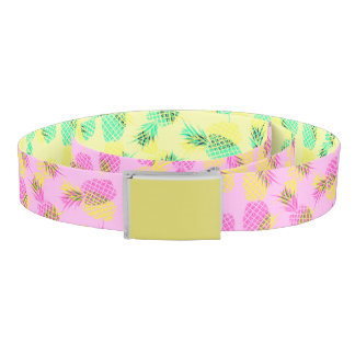 Neon Yellow and Pink Tropical Hawaiian Pineapples Belt