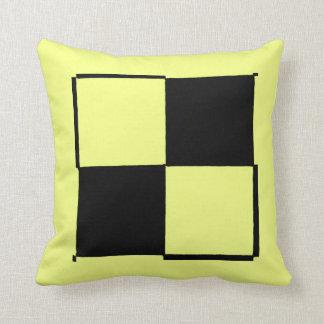 Neon Yellow Black Checker Pillow by RT STONE