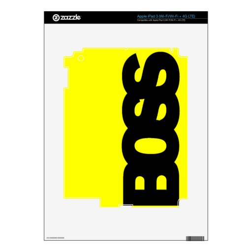 Neon Yellow BOSS Decal For iPad 3