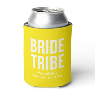 Beach Themed Neon Yellow Bride Tribe Can Cooler