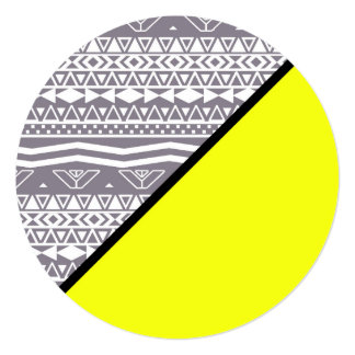 Neon Yellow Color Block Gray White Aztec Pattern Card