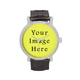 Neon Yellow Color Trend Blank Template Wristwatch