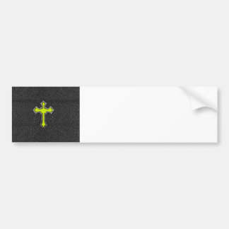 Neon Yellow Cross Black Vintage Leather ImagePrint Bumper Sticker